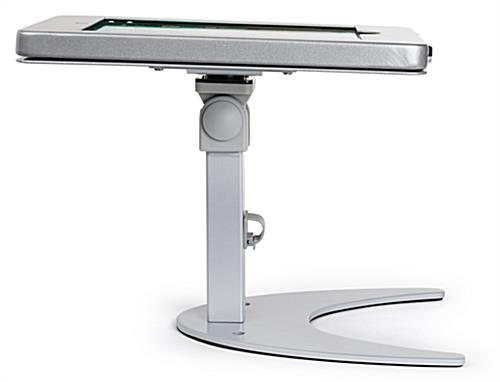 Countertop iPad Pro locking tablet holder stand with boomerang base
