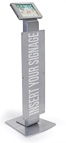iPad Pro pillar base stand with poster holder for pre-printed signage