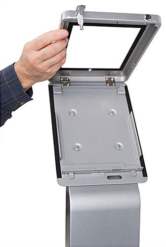 Pillar base iPad Pro kiosk with hinged case