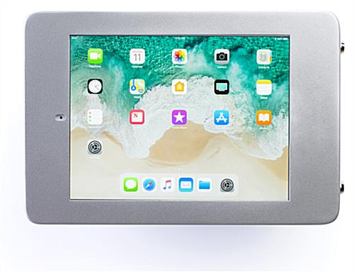 Secure wall mount ipad pro tablet holder in landscape orientation