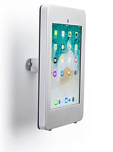 Secure wall mount ipad pro tablet holder in silver finish metal