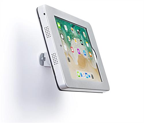 Wall mount iPad Pro tablet holder with tilt-enabled viewing