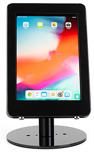Black iPad POS enclosure with rotating capability