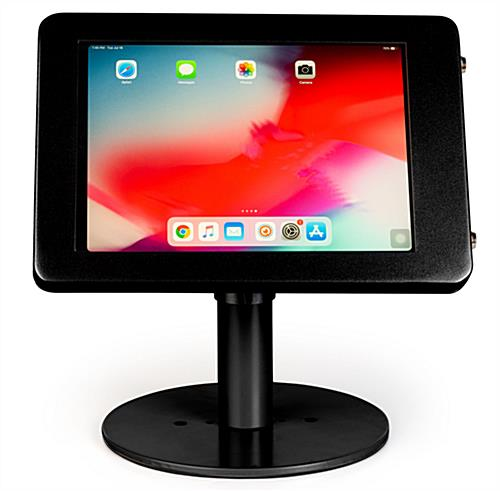 Black iPad POS enclosure displays tablet in portrait and landscape orientation