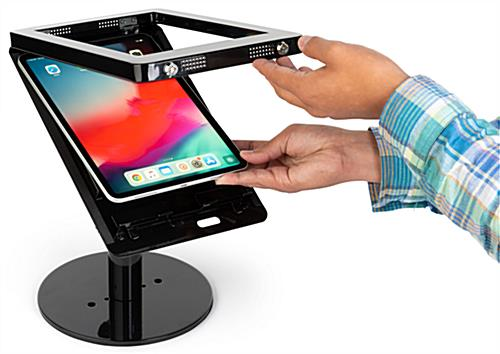 Black iPad POS enclosure with padded enclosure for tablet upkeep