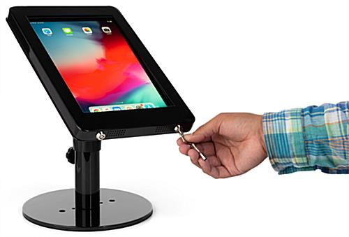 Black iPad POS enclosure with locking rotating housing for theft-prevention