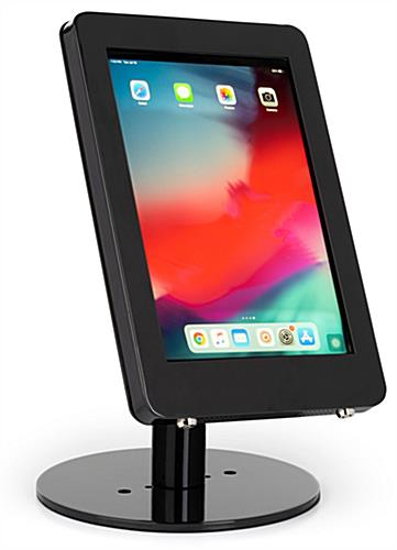 Black iPad POS enclosure with sturdy base for countertops