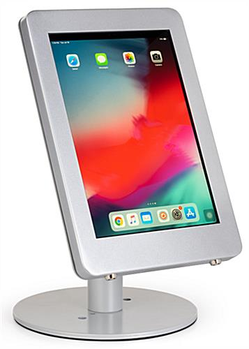Silver iPad Pro desk mount with modern rounded corner enclosure design