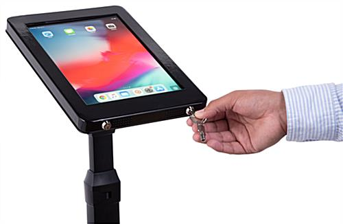 Adjustable stand for iPad pro with two keys for locking tablet