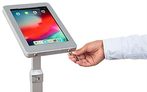 iPad pro adjustable kiosk with dual locking anti-theft enclosure