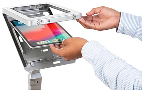 iPad pro adjustable kiosk with extra strength hinged enclosure