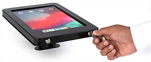 Conference room iPad mount with dual locking system