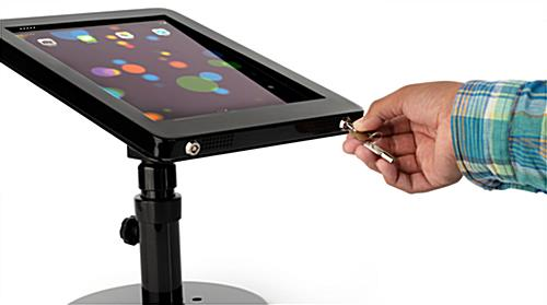 iPad Pro POS stand with dual locking anti-theft enclosure