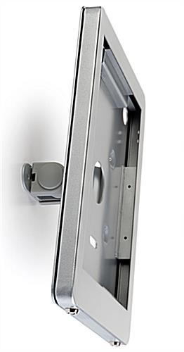 Secure iPad wall mount with twisting abilities to capture multiple angles