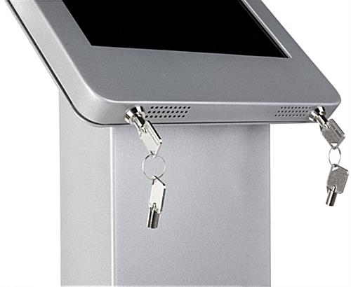 Silver iPad Pro Kiosk with Power Strip