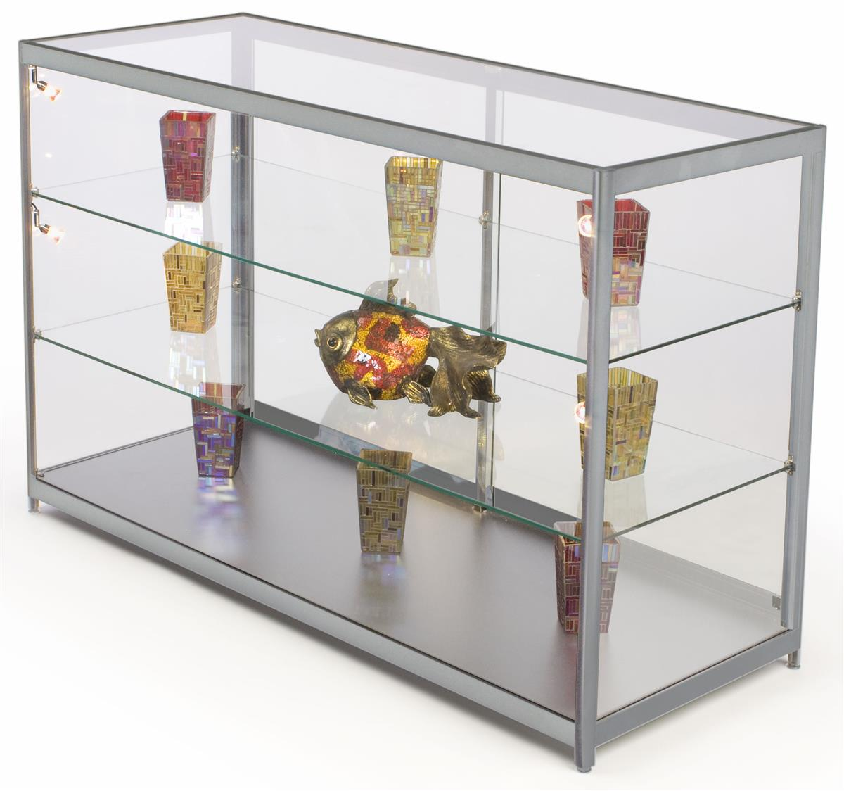 Tempered Glass Display Counter Silver Finish Amp Interior