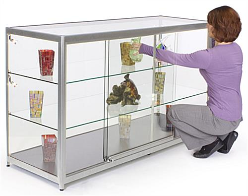 Store Showcase That Ships Fully Assembled - Silver Finish