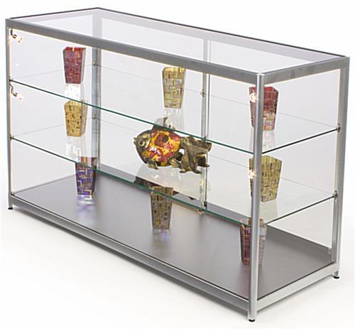 Store Showcase That Ships Fully Assembled - Silver Finish ...  sc 1 st  Displays2go & Store Showcase | Silver Display for Retail