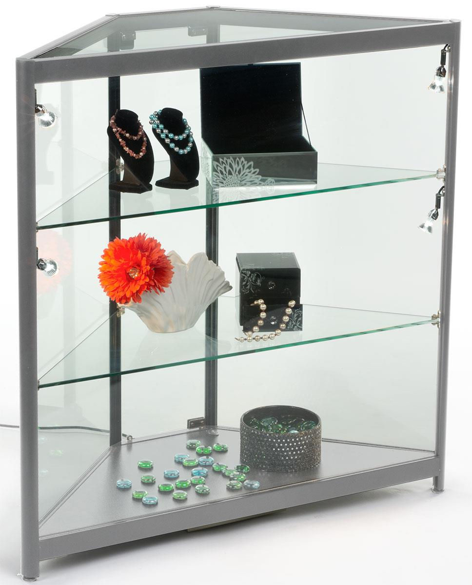led corner display case 4 side lights. Black Bedroom Furniture Sets. Home Design Ideas