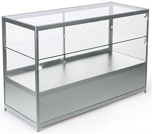 Glass Store Counter with LED Lights and Aluminum Frame