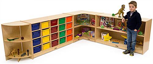 book display for floor jonticraft fixed shelves wheels wood natural - Jonti Craft