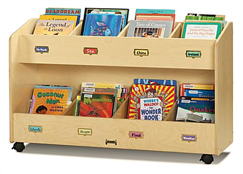 Childrens Book Storage Cart with 8 Compartments