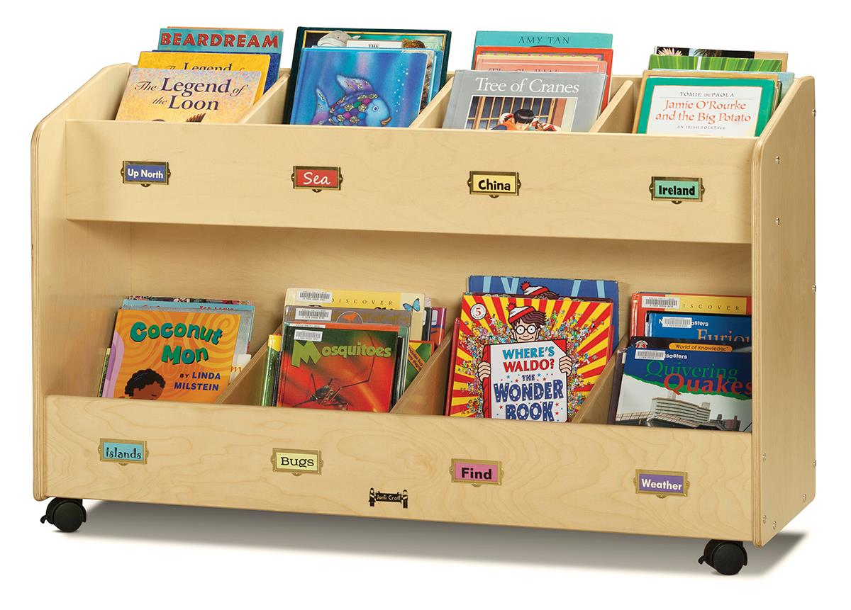 Childrens Book Storage Cart 8 Literature Pockets