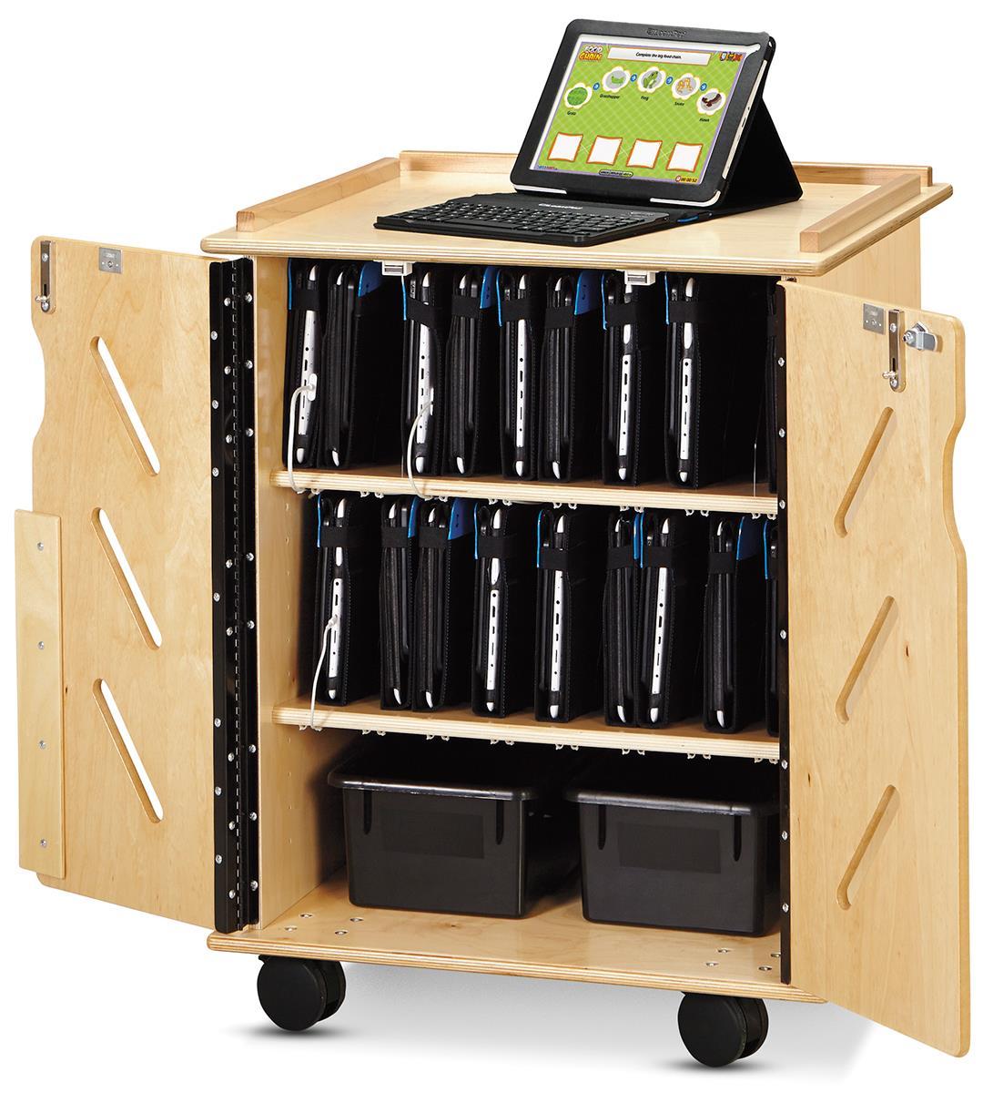 Laptop Amp Tablet Storage Cart Adjustable Device Pockets