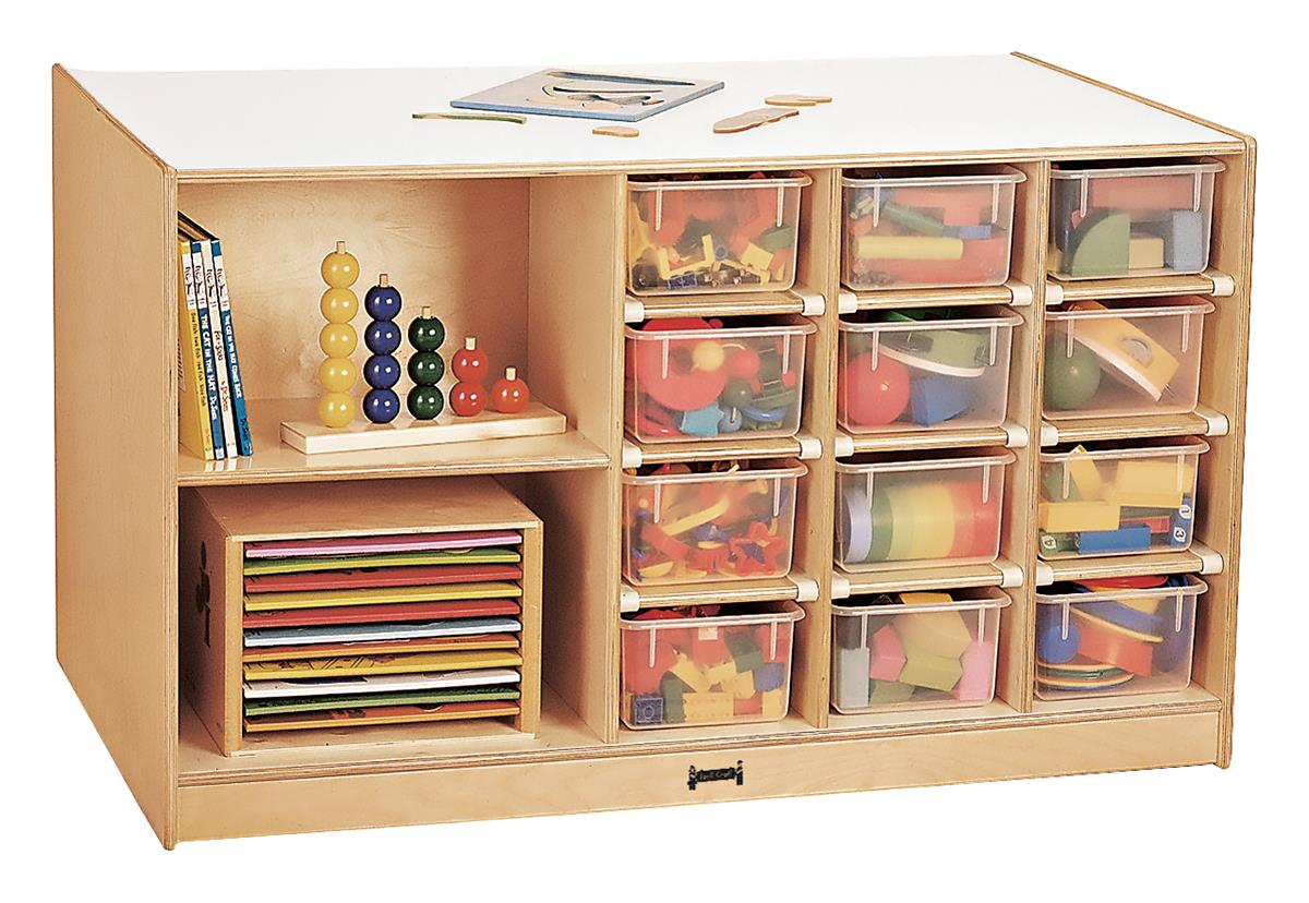 Double Sided Mobile Storage Island 12 Cubby Bins Included