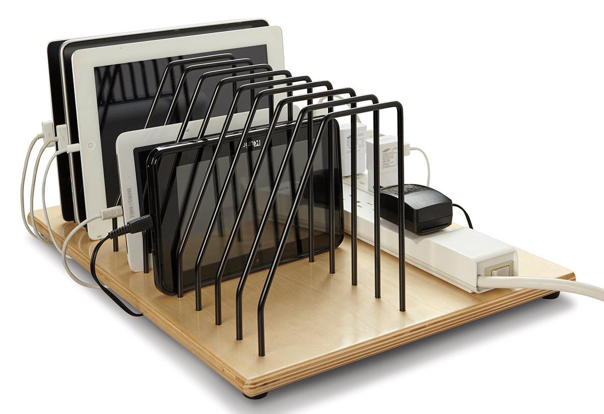 Desktop Tablet Charging Station Adjustable Pocket Dividers