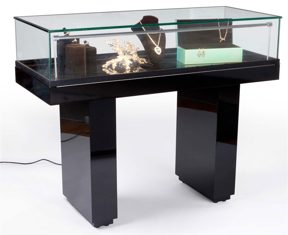 Gloss Black Jewelry Display Case With Hydraulic Lift Opening
