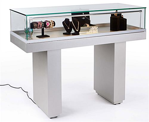 Semi Gloss Silver Jewelry Display Case With Hydraulic Lift Opening