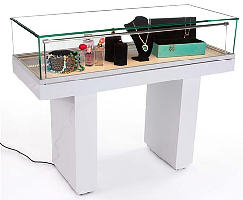 White Gloss Jewelry Case Lift Top With Hydraulic Opening