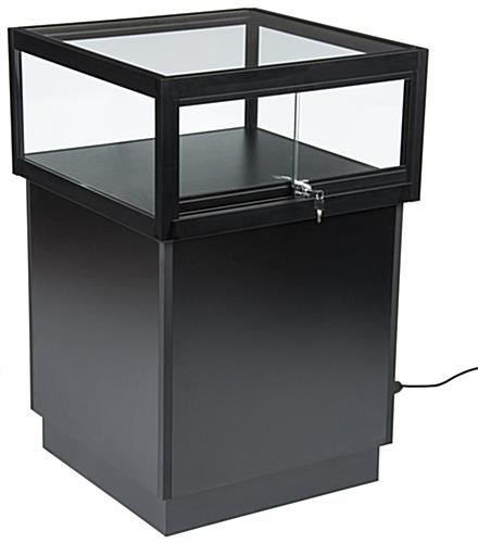 LED Display Case Pedestal with Black Wood Base