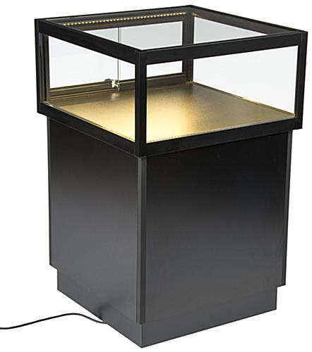 LED Display Case Pedestal with Top Lighting