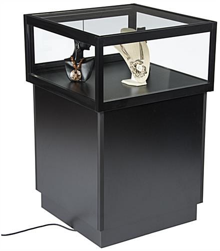 LED Display Case Pedestal with Wood Base