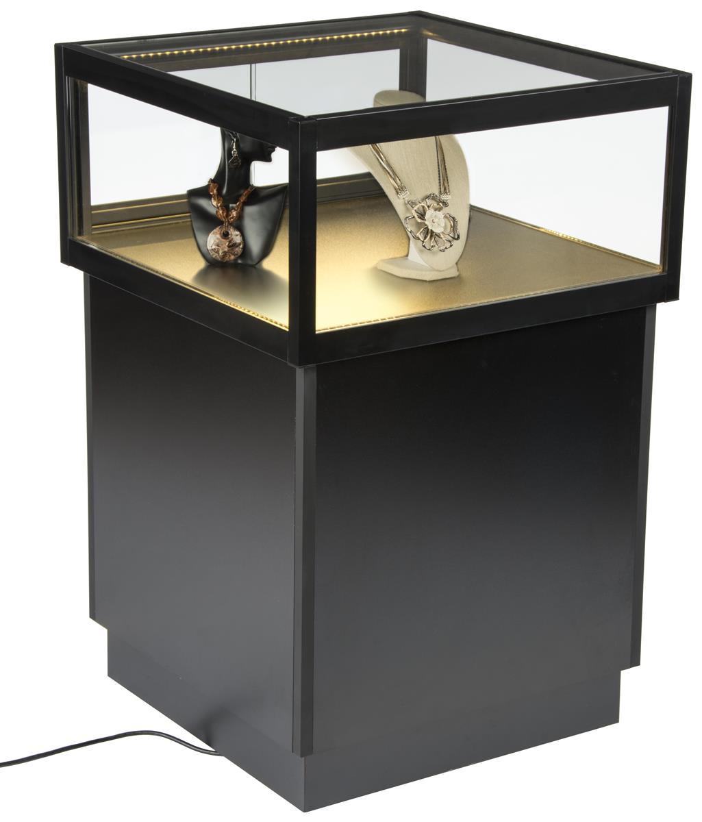 Pedestal Display Case With Mdf Base Sliding Gl Door Led Lights Black