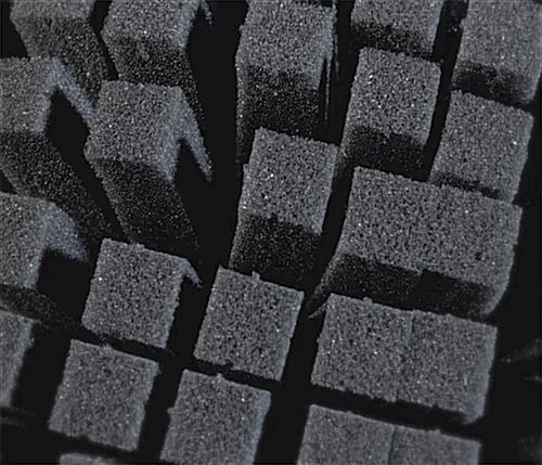 Charcoal colored small block pre-scored cubed foam sheets