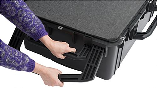 Waterproof cubed foam equipment case with 3 standard handles