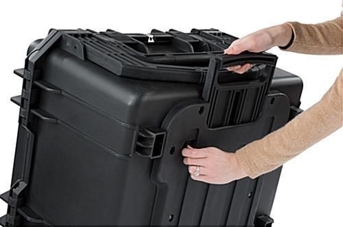 Waterproof cubed foam equipment case with extendable back handle