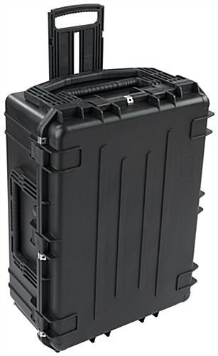 Waterproof cubed foam equipment case with extendable handle