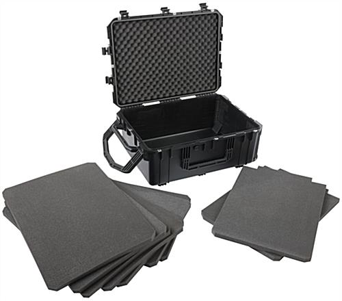 Waterproof cubed foam equipment case with 7 sheets