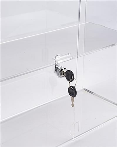 Countertop display cases includes two locks