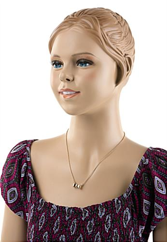 Teenage Female Mannequin with Base, Painted Facial Features - Flesh