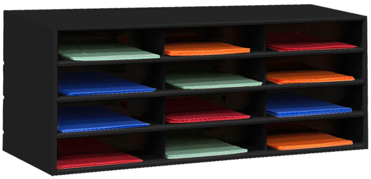 Metal Paper Organizer Black Literature Sorter Rack For Desk