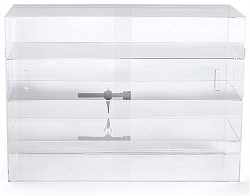Jewelry display case with sliding door