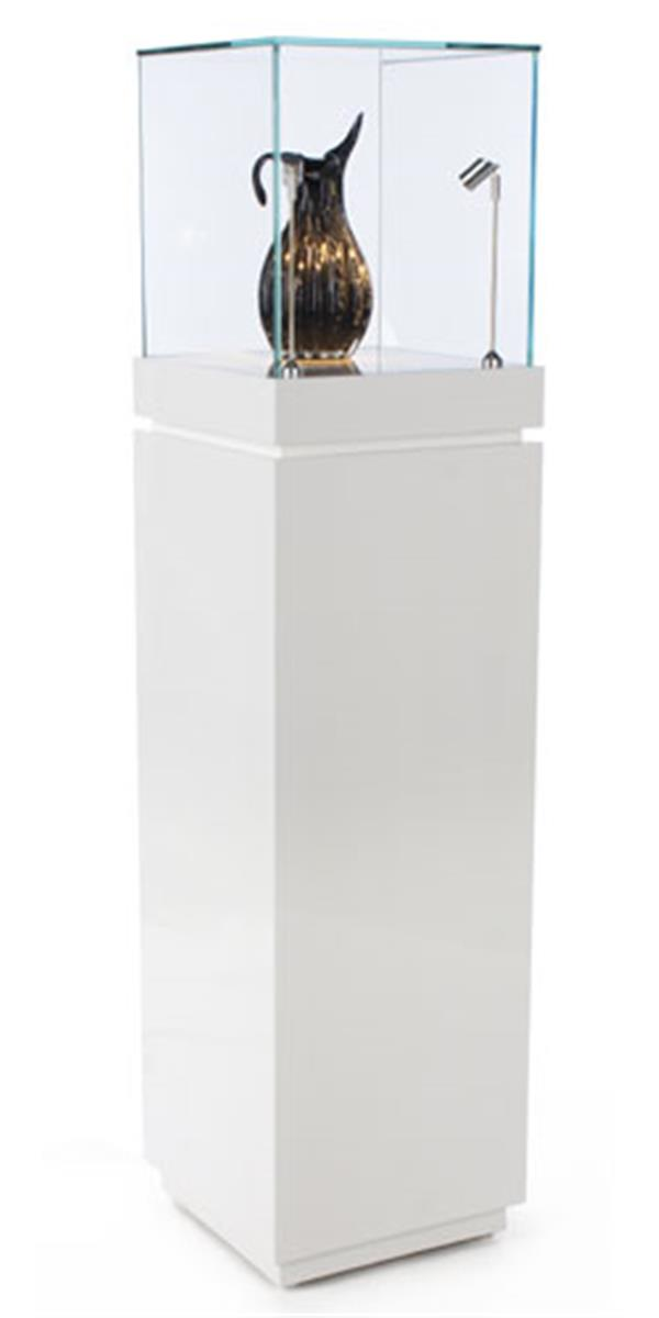 Museum Showcase White Gloss Stand W Tempered Glass