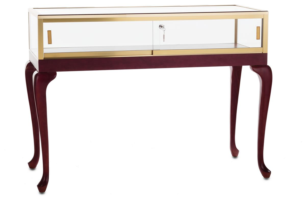 Tecno Display Display Table w/ Tempered Glass Top, Cherry...
