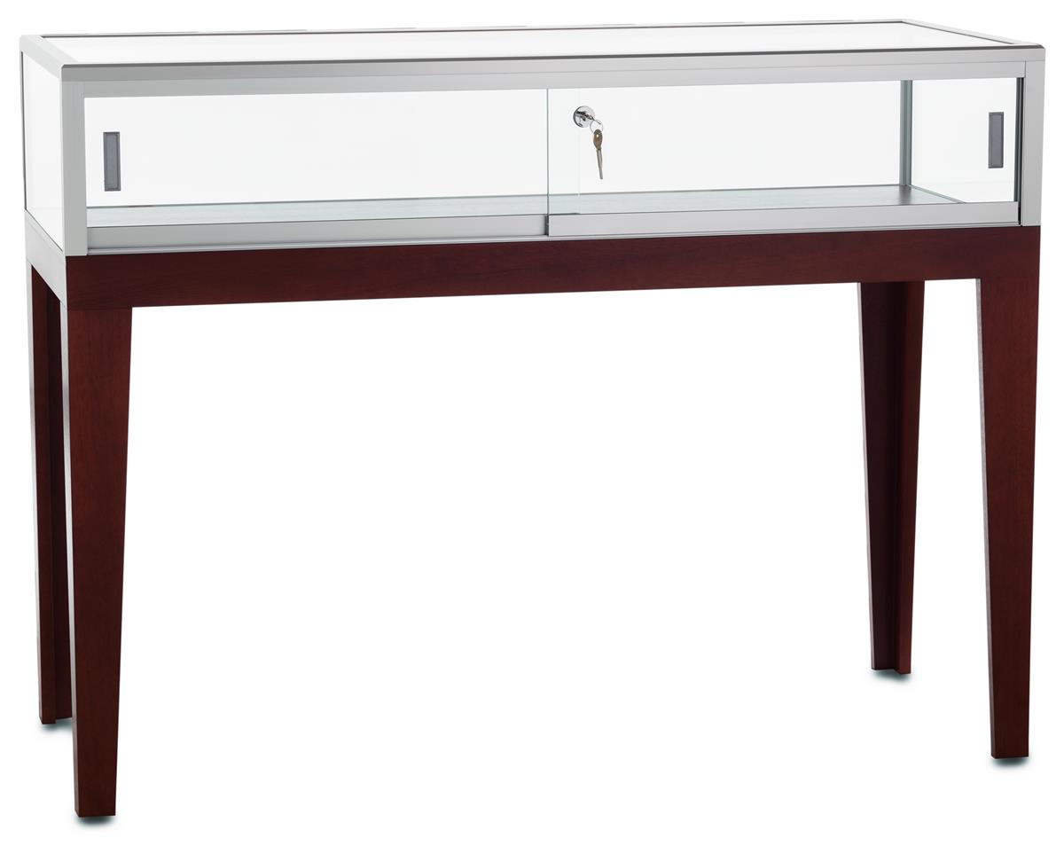 Tecno Display Display Table w/ Cherry Legs, Tempered Glas...