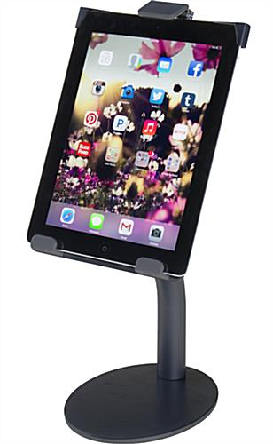 Black iPad Countertop Mount Holds Tablets in Portrait or Landscape